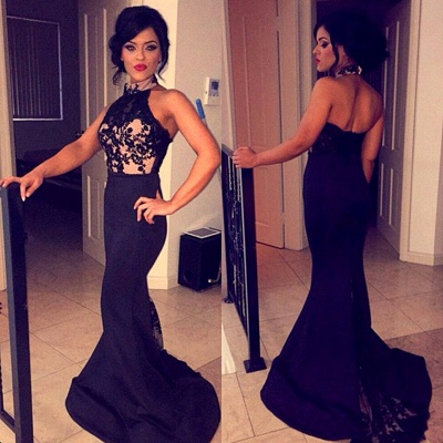 New Arrival Halter Mermaid Evening Dress Black Sleeveless Lace Applique Party Gown BA7144_3