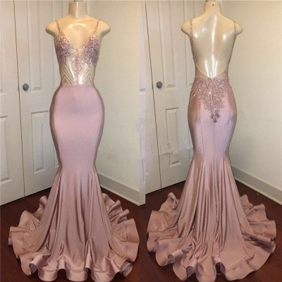 Spaghetti Straps Sparkling Beads Prom Dresses |  Pink Sequins Sexy Backless Evening Gown BA8240_3