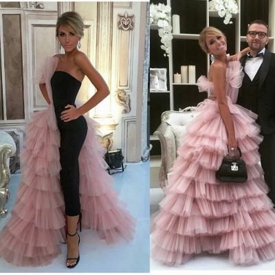 Black Straight Bodycon Evening Dress Overskirt Pink Tulle Tiered Ruffles Formal Dress  BA7249_3