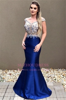 Off-the-Shoulder Mermaid Prom Dress | Sexy Blue Crystal Evening Dress_5