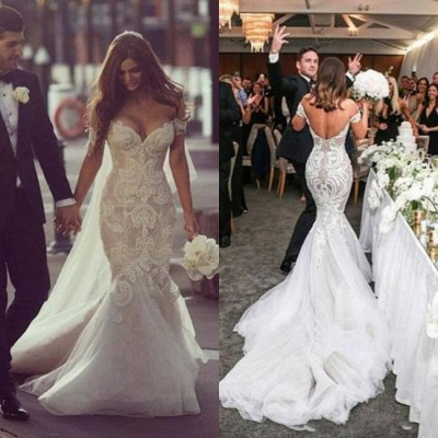 Sexy Mermaid Off Shoulder Long Wedding Dress White Court Train Formal Bridal Gowns_3