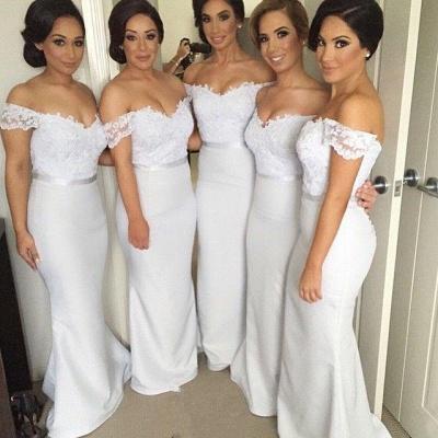 Sheath Off the Shoulder Long Wedding Party Dress Elegant Lace Floor Length Bridal Gown JT129_3