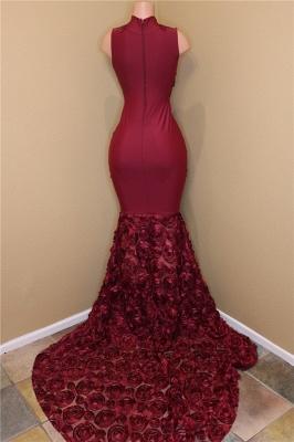 Burgundy Lace Prom Dresses with Roses Bottom | Sexy Sheath Sleeveless  Evening Dress Online BA8119_4