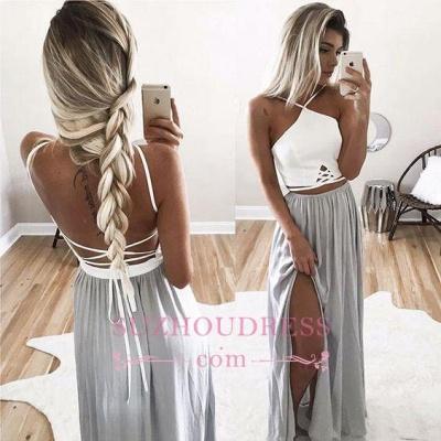 Open Back Halter Spaghetti Straps Evening Gowns  Side Slit Long Summer Prom Dresses_3