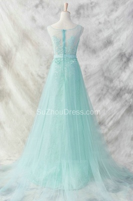 Light Green Lace Evening Dress A Line Tulle Appliques crystals Belt  Prom Dress_2