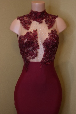 Burgundy Lace Prom Dresses with Roses Bottom | Sexy Sheath Sleeveless  Evening Dress Online BA8119_3