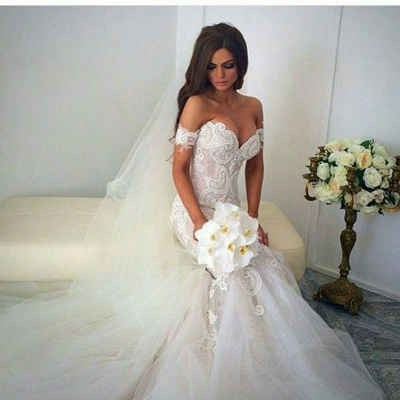 Sexy Mermaid Off Shoulder Long Wedding Dress White Court Train Formal Bridal Gowns_2