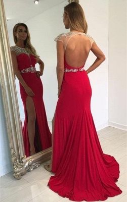 Cap Sleeve Split Sexy Evening Gown  Crystal Long Red Prom Dress_3