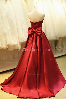 Elegant Strapless Red Satin Long Prom Dresses for Juniors Affordable Fitted Simple Lace-up Evening Dreses with Bowknot B_2