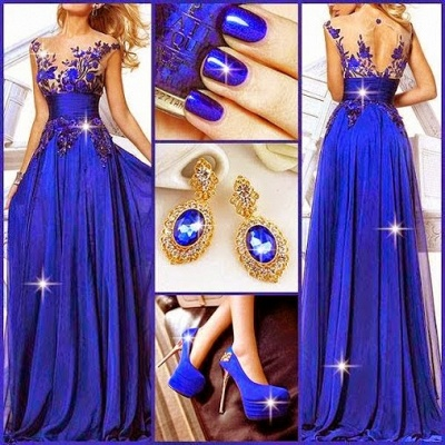 Jewelry Blue Sheer Chiffon Latest Evening Dresses Appliques Beading Elegant  Prom Dresses_2