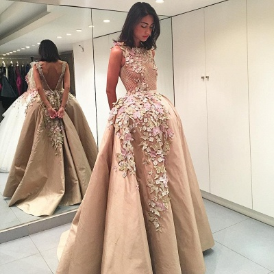 Colorful Butterflies Flowers Appliques V-Back Evening Dresses  Champagne Prom Dress_3