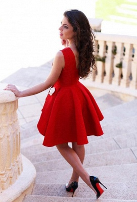 Cute Red Short Homecoming Dresses with Flowers  A-Line Mini Party Gowns_3