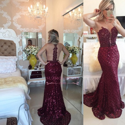 Sequined Mermaid Bow Sleeveless Evening Dress  Sweep Train Gorgeous Burgundy Prom Dress BMT209_1