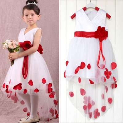 Cute White V-Neck Hi-Lo Flower Girl Dresses Unique  Tulle Ball Gown Chidern Dresses with Belt_1