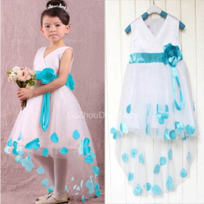 Cute White V-Neck Hi-Lo Flower Girl Dresses Unique  Tulle Ball Gown Chidern Dresses with Belt_2