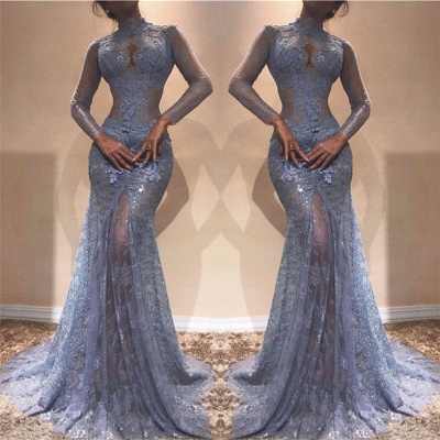 High Neck Long Sleeve Lavender Lace Prom Dresses Sexy Sheath Gorgeous Evening Gown  BA7961_3