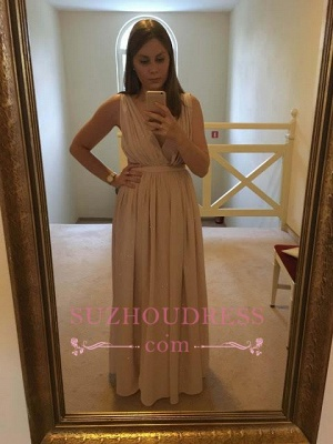 Simple V-neck Chiffon Sleeveless Long Evening Dress_1