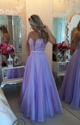 Short Sleeve Lavender Lace Prom Dress with Beadings Floor Length Formal Occasion Dresses_1