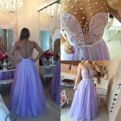 Short Sleeve Lavender Lace Prom Dress with Beadings Floor Length Formal Occasion Dresses_3