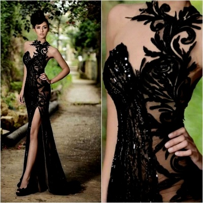 Sexy Front Split Black Lace Appliques Evening Gowns  Beaded Sexy Formal Dresses BO7602_3