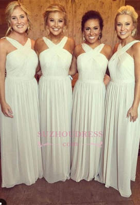 Cross Sleeveless A-line Chiffon Elegant  Bridesmaid Dress_1