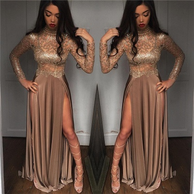 High Neck Champagne Gold Sexy Evening Dress Splits Long Sleeve Illusion Prom Dress  FB0061_3
