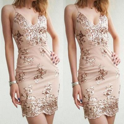 Sexy Sheath Appliques Short Homecoming Dresses    Spaghetti Straps Hoco Dresses_3