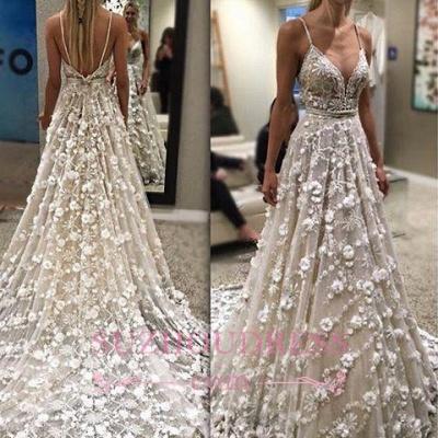 Spaghetti-Straps Gorgeous Sexy Flowers Backless Wedding Dress_1