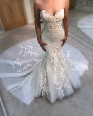 Stunning Strapless Lace Wedding Dresses Sweetheart Mermaid Bridal Gowns Online_3