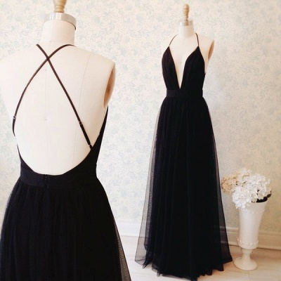 Sexy Black Tulle Straps Evening Dress  Deep V-neck Open Back Prom Gown BA3178_3