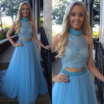 Gorgeous High Collar Two Piece Prom Dress Beading Handmade Tulle Evening Gown_3