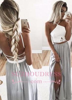 Open Back Halter Spaghetti Straps Evening Gowns  Side Slit Long Summer Prom Dresses_1