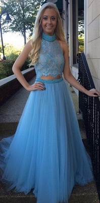 Gorgeous High Collar Two Piece Prom Dress Beading Handmade Tulle Evening Gown_1