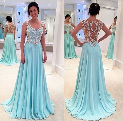 Latest Blue Lace Chiffon Prom Dress A-Line Sweep Train Plus Size Formal Occasion Gowns JT022_2