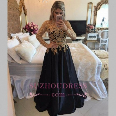 Black Long-Sleeves Gold Lace Puffy Pearls A-line Appliques Prom Dresses_1