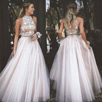 High Collar Two Piece Tulle Evening Dress with Beading A-Line Halter Long Prom Dress CE0108_3