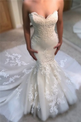 Stunning Strapless Lace Wedding Dresses Sweetheart Mermaid Bridal Gowns Online_1
