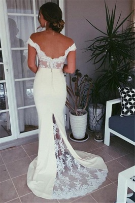 Elegant Appliques Mermaid Evening Dresses |  Off the Shoulder Sweep Train Evening Dress_4