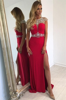 Cap Sleeve Split Sexy Evening Gown  Crystal Long Red Prom Dress_1