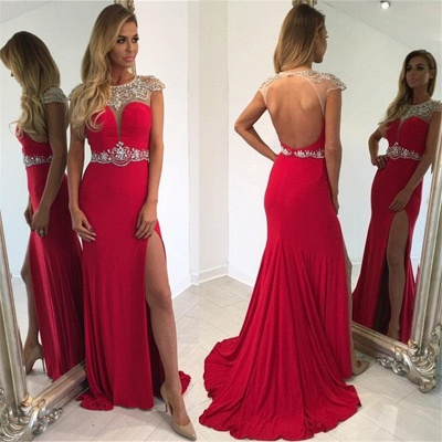 Cap Sleeve Split Sexy Evening Gown  Crystal Long Red Prom Dress_4