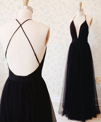 Sexy Black Tulle Straps Evening Dress  Deep V-neck Open Back Prom Gown BA3178_1