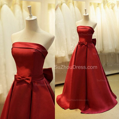 Elegant Strapless Red Satin Long Prom Dresses for Juniors Affordable Fitted Simple Lace-up Evening Dreses with Bowknot B_3