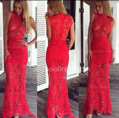 Sexy Red Mermaid Lace Long  Evening Dress  Floor Length Sleeveless Plus Size Dress_2