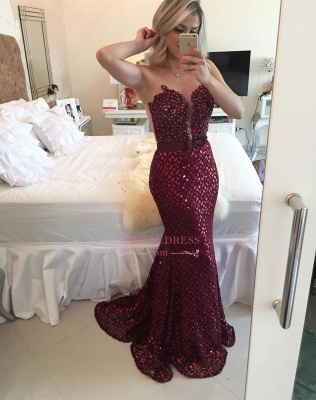 Sequined Mermaid Bow Sleeveless Evening Dress  Sweep Train Gorgeous Burgundy Prom Dress BMT209_4