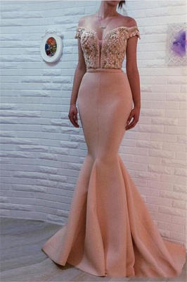Mermaid Off The Shoulder Pink Prom Dresses Beads Sequins Sexy Evening Gowns_1