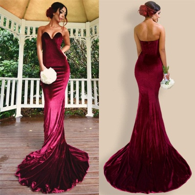Sexy Mermaid Burgundy Velvet Bridesmaid Dresses  Sheath  Evening Gowns_4