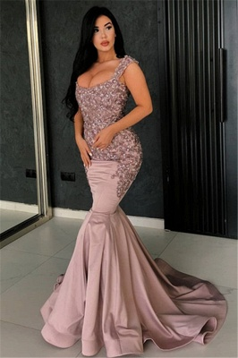 Chic Pink Straps Lace Mermaid Prom Dress Appliques Rhinestones Evening Dresses On Sale_1