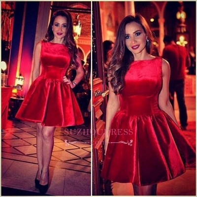 Sleeveless Red Short Homecoming Dress_1