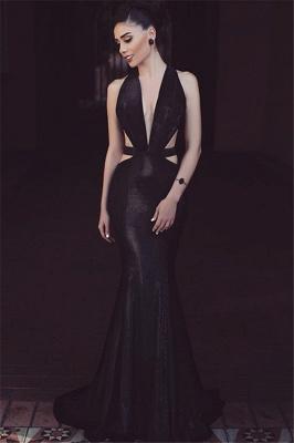 Black Mermaid Cutaway Sexy Evening Dresses  Sleeveless V-Neck Prom Dress_4