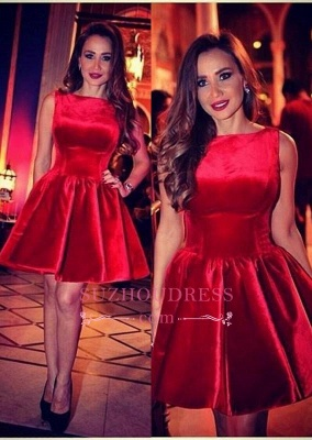 Sleeveless Red Short Homecoming Dress_2